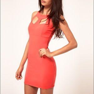 LIPSY Coral Bodycon Mini Dress